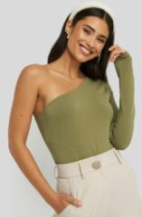 Groene NA-KD Basic One Shoulder Body - Green