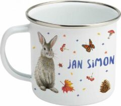 Donkerblauwe Mies To Go Emaille mok met naam - Uil konijn hert - Gepersonaliseerde drinkbeker - kraamcadeau - Dieren in aquarel - Geschilderd door Mies