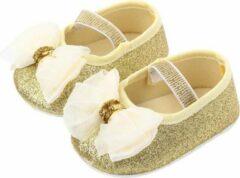 Goud creme ballerina | zomer schoenen | baby meisjes | antislip zachte zool | 0 tot 6 maanden | maat 18 | baby accessoires