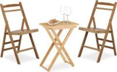 Relaxdays 3 tlg. Sitzgruppe Bambus Klapptisch Beistelltisch klappbar Klappstuhl Faltstuhl