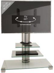TV-Rack Lowboard Konsole Fernsehtisch TV Möbel Standfuß Glastisch Tisch Phono 'Amalo Maxi' VESA VCM Klarglas