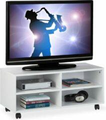 Relaxdays tv meubel verrijdbaar - tv dressoir wit - open tv kast - op wielen