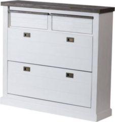 Möbel Ideal Schuhschrank in Akazie massiv Weiß / Braun