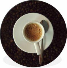 WallCircle Kopje espresso op koffiebonen Wandcirkel aluminium ⌀ 120 cm - foto print op muurcirkel / wooncirkel / tuincirkel (wanddecoratie) XXL / Groot formaat!