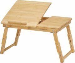 SONGMICS In hoogte verstelbare laptoptafel met lade, opvouwbare notebooktafel van bamboe, bedtafel, lezen, ontbijt, tekenen, 55 x (21-29) x 35 cm LLD01N