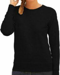 Fruit of the Loom Zwarte sweater / sweatshirt trui met raglan mouwen en ronde hals voor dames - zwart - basic sweaters S (36)