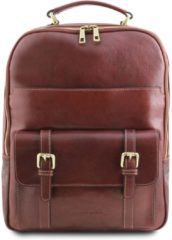 Tuscany Leather leren laptop rugzak Nagoya - Bruin - TL141857