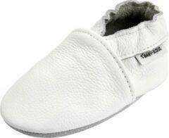 Merkloos / Sans marque Witte effen leren babyslofjes van Baby-Slofje maat 0-6 maanden