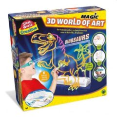 Boeketbinderij.be Small World Creative 3D Tekenbord Dinosaurus + 4 Markers + 3D Bril