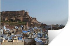 StickerSnake Muursticker Jodphur - De toeristische trekpleister Jodhpur op een zonnige dag - 30x20 cm - zelfklevend plakfolie - herpositioneerbare muur sticker