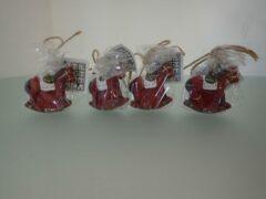 Rode Merkloos / Sans marque Hobbelpaard kerst kaars set (4 stuks).