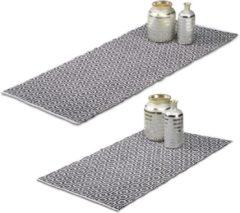 Witte Relaxdays - vloerkleed katoen - loper - tapijt - 80x200 70x140 cm, handgemaakt
