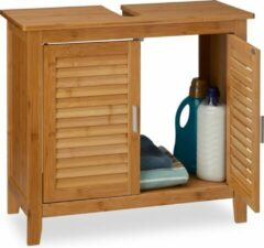Naturelkleurige Relaxdays wastafelonderkast - badkamerkast bamboe - wastafelkast badkamer - hout