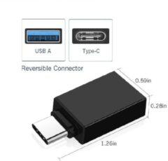 Ascromy USB-C 3.1 naar USB 3.0 A Female Zwart Adapter met OTG functie voor onder andere Macbook en smartphones