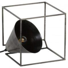 Zaloni Tafellamp industry kubus van 20 cm hoog - Oud zilver