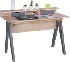Wohnling Schreibtisch SAMO 120 cm Design Bürotisch Sonoma Eiche/Grau modern Computertisch 2 Schubladen & Stauraum platzsparend