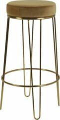Bruine Light & Living Barkruk Ø41x73,5 cm ALICE velvet karamel+goud