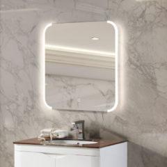 Zilveren Diamond Line Badkamerspiegel Jolie 60x60cm Geintegreerde LED Verlichting Verwarming Anti Condens Touch Lichtschakelaar Dimbaar