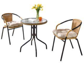 3-teiliges Gartenmöbel-Set Braun