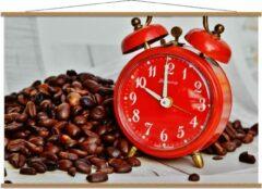 KuijsFotoprint Schoolplaat – Koffiebonen met Rode Wekker - 150x100cm Foto op Textielposter (Wanddecoratie op Schoolplaat)