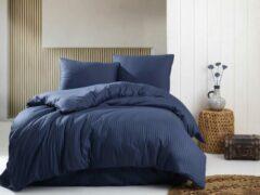 Blauwe Deco Milano, Dekbedovertrek , hoog kwaliteit 100% Katoensatijn, NIGHT BLUE ,240 x 220 2x kussenslopen, gestreept satijnstof.
