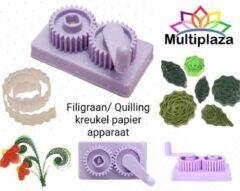 """Paarse Filigraan - Quilling papierkrimp apparaat """"Multiplaza"""" - kreukelen - ribbelen - origami - kaarten - decoratie - creatief - hobby - knutselen - versiering - bloemen - patronen - vouwen - rollen"""