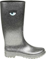 Argento CHIARA FERRAGNI Stivale Rain Boots Slip On Flirting In Gomma Glitter