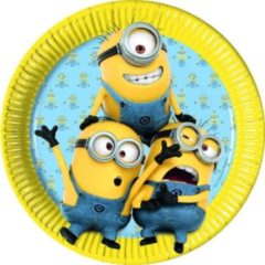 Gele 8 kartonnen Minions™ borden - Feestdecoratievoorwerp