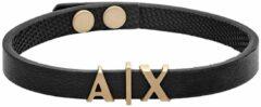 Zwarte Armani Exchange AXG0055710 Armband van leer en roestvrij staal met logo