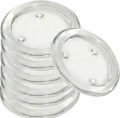 Transparante Trend Candles 30x Ronde kaarsenhouders/kaars onderzetters van glas 14 cm - Glazen kaarsenhouders voor stompkaarsen tot 10 cm doorsnede - Woondecoraties