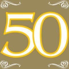 Goudkleurige Folat 40x 50 jaar leeftijd themafeest servetten goud 33 x 33 cm papier - Vijftigste/50e verjaardag papieren wegwerp tafeldecoraties