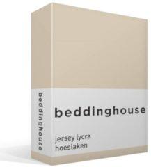 Naturelkleurige Beddinghouse Jersey Lycra Hoeslaken - Tweepersoons - 160x200/220 cm - Naturel