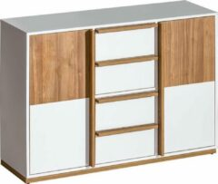 Maxima House EVADO Dressoir 2 - Commode - Wit / Walnoot Eiken - 83 x 80 x 38 cm