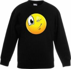 Bellatio Decorations Smiley/ emoticon sweater knipoog zwart kinderen 14-15 jaar (170/176)