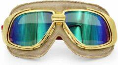 Ediors retro goud, beige leren motorbril | Multi-kleur glas