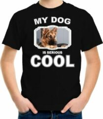Bellatio Decorations Duitse herder honden t-shirt my dog is serious cool zwart - kinderen - Duitse herders liefhebber cadeau shirt XL (158-164)
