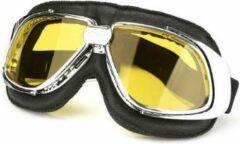 Pothelm.nl Retro, chrome zwart leren motorbril geel glas