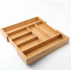 Uitschuifbare bestekbak voor keukenla – 5 Vaks -> Uitschuifbaar naar 7 Vaks - Bestek organizer van hoogwaardig bamboe hout – Bestekcassette uitschuifbaar - 33-55 x 45.5 x 6.5 Cm. - Decopatent®