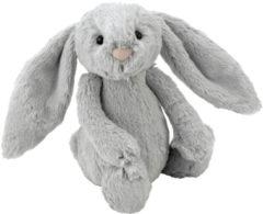 Grijze Jellycat knuffelkonijn bashful bunny silver - m - 31 cm