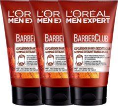 L'Oréal Paris L'Oréal Paris Men Expert Barber Club BarberClub Exfoliërende Baard & Gezichtsscrub - 3 x 100 ml Voordeelverpakking