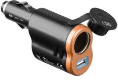 Goobay 2-in-1 USB-stroomadapter Stroombelasting (max.)=5 A Geschikt voor (details) USB-A, Sigarettenaansteker