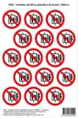 Rode Stickerkoning Pictogram sticker P020 - Verboden de lift te gebruiken bij brand - Ø 50mm - 15 stickers op 1 vel