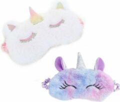 Paarse MINIIYOU 2-pack Unicorn slaapmasker kind - meisjes slaapmasker - reismasker vanaf 5 jaar | Reizen |Pluche Polyester | kinderen accessoires | Goede nachtrust