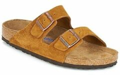 Bruine Sandalen Arizona Cuir Suede Soft Footbed M by Birkenstock