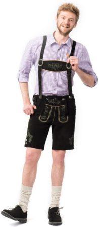 Afbeelding van Zwarte Tannhauser Boeren Tirol & Oktoberfest Kostuum | Lederhose Bierman Manfred | Maat 56 | Bierfeest | Verkleedkleding