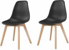 Anders SACHA Set van 2 zwarte eetkamerstoelen - Massief houten hevea-voeten - Scandinavisch - B 48 x D 55 cm
