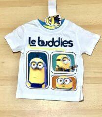 Minions T-shirt - Le Buddies - wit - maat 110/116 (6 jaar)