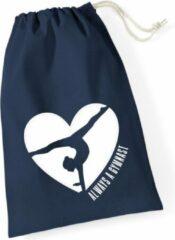 Marineblauwe Sparkle&Dream Leertjes/Lusjes Tasje 'Love Gymnast' Navy, voor turnen en gymnastiek