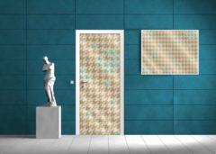 GroepArt Deursticker Muursticker Modern | Turquoise, Goud | 91x211cm