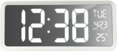 Witte Technoline Wandklok/Tafelklok grote cijfers - datum & dag - thermometer - groot display